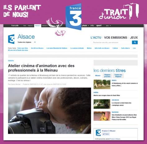 France 3 Alsace le 25 juillet 2013